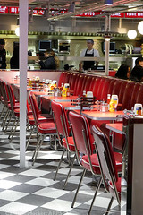 Day #3661 (cazphoto.co.uk) Tags: panasonic lumix dmcgx8 panasonic1235mmf28lumixgxvarioasphpowerois project365 beyond3653 080118 chairs condiments diner edsdiner liverpoolstreet london red tables station architecture