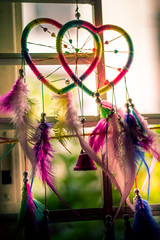 17/365- Hearts (KamPhotography3) Tags: bell bells colors feather heart hearts love pearls soothing wind windchimes window canon canon750d canonphotography canon50mm 7dwf