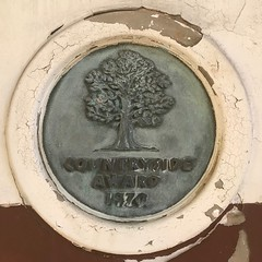 Countryside Award 1970 (Sam Tait) Tags: tree oak crackle cracked paint peeling plaque england house old builing historic derbyshire derby castle elvaston 1970 award countryside