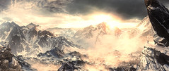 Between Earth and Heaven (Stachmoon) Tags: between earth heaven reshade video game gaming screenshot landscape panorama mountains mountaineering peaks nature blizzard snow digital art