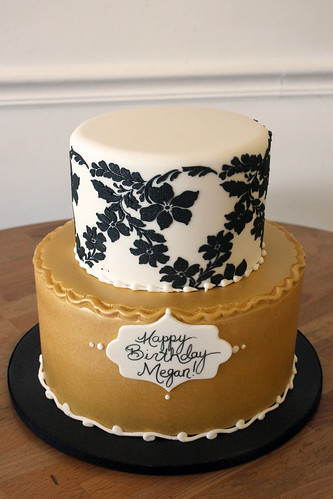Black Floral Stencil and Gold Cake