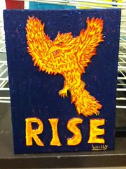 Rise of the Phoenix (al-worthy) Tags: start phoenix rise motivational fire bird 3d relief polystyrene acrylic painting canvas night time dark vivid flames hidden meaning message stars flying sky angry leaping jumping out