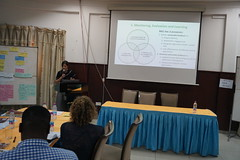 Emilie Smith Dumont of ICRAF presenting at the ELD Kick-off workshop for the project Economics of Land Degradation in Ghana
