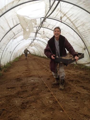 Isabelle et Jean-Marc plantent les pommes de terre