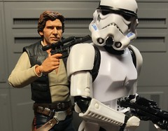 Han: Don't be a hero drop the blaster! (chevy2who) Tags: inch six series black stormtrooper action solo han toyphotography toy wars star arts figure sh