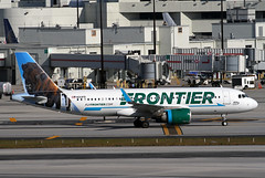 A320.N313FR (Airliners) Tags: frontier frontierairlines 320 a320 airbus airbus320 airbusa320 bison buffalo americanbuffalo americanbison wileytebison mia n313fr 11618