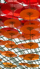 Flying high [explored] (Christine Schmitt) Tags: 52in2017 red umbrellas flying installation many flowerdome gardensbythebay singapore explore explored