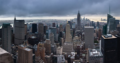 New York Panorama. (Oleg.A) Tags: usa newyork landscape sunset rockefellercenter nature city outdoor panorama evening town clouds countryside summer colorful blue architecture skyscape megalopolis rain metropolitain cloudy metro nyc america landscapes outdoors