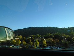 DSC02927 (classroomcamera) Tags: home house drive driving passenger car carride ride riding mirror rear rearview hill hills mountain mountains tree trees sky cloudless clear blue green landscape view relax watch