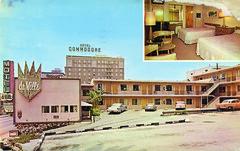 Motel deVille (jericl cat) Tags: motel california calif neon sign deville downtown losangeles crown de ville commodore hotel mayfair city parking lot vacancy roadside la