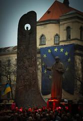 EuroMaydan (bobobahmat) Tags: euromaydan lviv life lvov ukraine euro city town street color bnw bw black white autumn building portrait people history protest flag statue shevchenko monument holodomor