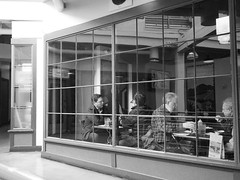 Basement Diner (mattwaller@ymail.com) Tags: blackandwhitephotography blackandwhite bnw blackwhite bw monochrome urban city seattle streetphotography street streetphotographers streetphoto streetlife olympusepl8 olympuspen pikeplacemarket people restaurant