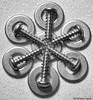 To The Point (Karen Fayeth) Tags: metal screw fastener macromondays macromonday art flower bw blackandwhite hardware metallic silver washer circle gray grey pointed arranged fromthetoolbox toolbox fixit