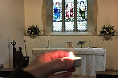 014 2018 we should be lights in the world (Margaret Stranks) Tags: 014365 365days 2018 stswithins church quenington gloucestershire uk tealight altar window
