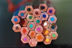 Rainbow Honeycombs (Bastian_Schmidt) Tags: color colors colour colours honeycomb waben bienenwaben farben farbe stifte pencil stift pencils macro makro bokeh rainbow regenbogen art kunst modern sony alpha 58 90mm tamron 28