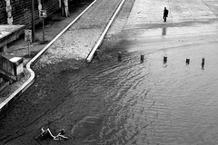 In front of the rising waters (pascalcolin1) Tags: paris13 seine homme man vélo bike eau water inondation photoderue streetview urbanarte noiretblanc blackandwhite photopascalcolin canon50mm 50mm canon flood