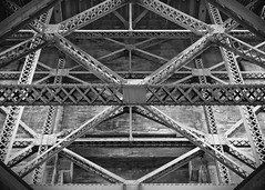 Golden Gate Bridge (lgflickr1) Tags: goldengatebridge sanfrancisco underneath blackandwhite girder structure bridge california abstract manmade steel angles overhead monochrome symmetry sharp crisscross lines travel westcoast geometric intersections 45degree