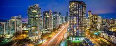 Vancouver at dusk (Rey Cuba) Tags: vancouver canada nikon city cityscape downtown buildings architecture streetlights panorama nightlights reycuba reycubaphotography photo canadaphotography vancouverphoto