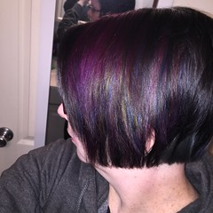 New hair color (thischarmingamy) Tags: multicoloredhair rainbowhair canvassalon blackhair coraline andovermassachusetts bluehair shorthair purplehair