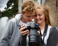 Young photographers (paul indigo) Tags: dordrecht nikon paulindigo blond boy camera canal girl photographer smile teenagers young youth