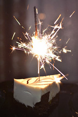 Will Never be Rid of these Stars (GothGeekBasterd) Tags: happy birthday cake sparkle sparkler firework bengalisches feuer lights