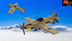 Bf-111s on patrol over Egypt - 1944 (Eínon) Tags: messerschmitt heinkel second world war germany luftwaffe lego fighter me109 bf109 egypt afrika corps tunisia