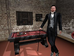 Man in a Man Cave (ScottSilverdale) Tags: scottsilverdale secondlife sl gym mancave loft billiards pool bar cane cue martini