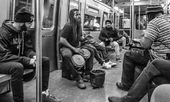 Six Train (John St John Photography) Tags: streetphotography 6train mta newyorkcity newyork buskers musicians bongo drums entertainment subway photography commuters passengers enjoyment candidphotography bw blackandwhite blackwhite blackwhitephotos johnstjohn