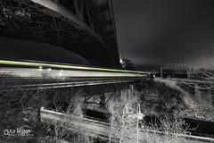 Always on the 'Go' (wilbias) Tags: elevated walkway bridge steel overpass perspective road long exposure light york go train night evening hamilton ontario canada gta