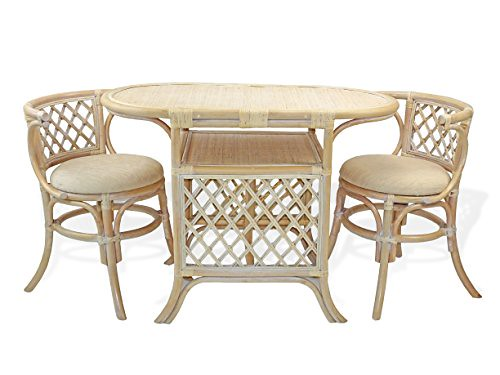 Cheap Borneo Compact Dining SET Table with Wicker Top +2 Chairs White Wash Handmade Natural Wicker Rattan Furniture