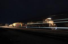 Flash Of Night (Matt_Schimmel) Tags: bnsf burlingtonnorthernsantafe creamandgreen sd70mac emd classic train freight locomotive oldmonroe missouri kline hannibalsub night