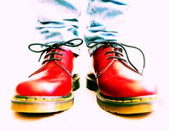 Big Red Shoes ! (CJS*64) Tags: shoes redshoes drmartens drmartens1461 feet footwear panasoniclx100 panasonic lx100 cjs64 craigsunter cjs