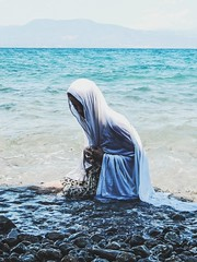 Cold Blue Solitude (Peter Tatsis) Tags: photography flickr greece art blue sea ocean greek tumblr city artistic vintage retro skinny dope sadness grunge paleblue hipster boho indie folk white pale minimal woman waves lifo artifact body