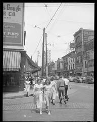 Yonge St., south of Dundas  1949 (Howard258) Tags: vintage memorabilia downtowntoronto yongestreet streetview torontoontario 1949 toronto 1940s