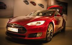 Tesla (FanFan Babii or just plain Buffan) Tags: tesla car red sportscar shiny indoor indooroutdoor