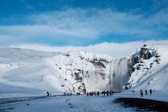Skogarfoss and Sky (timnutt) Tags: water iceland x100t waterfall fuji skogarfoss