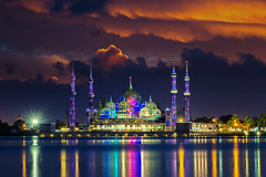 Crystal mosque (anekphoto) Tags: mosque malaysia crystal terengganu gold architecture symbol ramadhan sky landscape asia building palace muslim city tourism culture landmark religion scenery islamic peaceful oriental religious attraction god faith spiritual dawn worship dome pray prayer islam places kuala masjid night day asian famous moon space copy star evening mosques clouds morning eid