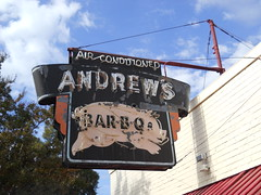 Amdrews BBQ sign (dwheel41) Tags: sign signs old vintage roadside bbq andrews neon steel rusted pig air conditioned
