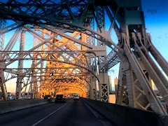 Queensboro Bridge (joeclin) Tags: northamerica america unitedstates usa newyork ny manhattan newyorkcity nyc queens rooseveltisland queensborobridge outdoor color carwindow amateur 2010s iphoneography iphone sunset cars bridge driving road appleiphone7 joelin joeclin