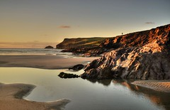 Carved by Atlantic Waves (suerowlands2013) Tags: polzeath northcornwall cornishcoast eveninglight cliffs rockpools reflections sunset endoftheday beach tranquility peace