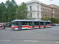 Brno tram No. 1101 has just passed the pink tank. (johnzebedee) Tags: tram transport publictransport vehicle brno czechrepublic johnzebedee