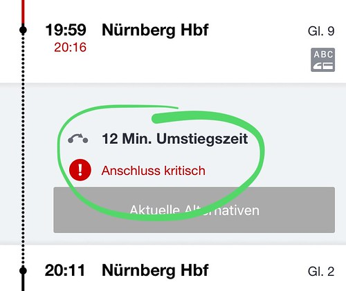 "20:16 + 12' = 20:28, also Anschluss um 17 Minuten verpasst: Bahn-App nennt das ""kritisch"", müsste es nicht eigentlich ""verpasst"" heißen? • <a style=""font-size:0.8em;"" href=""http://www.flickr.com/photos/77921292@N07/39971415041/"" target=""_blank"">View on Flickr</a>"