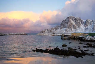 North-Norwegian landscape in January light. The harbour at Bleik, Andøya. In Explore 2.2.2018.