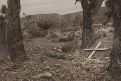 Grave in the Desert 7393 C (jim.choate59) Tags: grave desert mojave cross dark monochrome blackandwhite jchoate rx100 crucifix