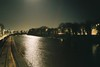 Moonlight, high tide, Vauxhall Bridge (knautia) Tags: riveravon vauxhallbridge bristol england uk january 2018 river avon bridge footbridge moon film ishootfilm olympus xa2 fuji fujicolor 100iso olympusxa2 hightide