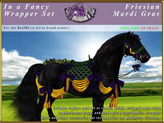 E-RH-FancyWrapper-Friesian-MardiGras (honeyheart1) Tags: saddle bridle show horseshow horse realhorse eliteequestrian sl secondlife friesian