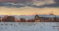 Looking east as the sun sets (jaros 2(Ron)) Tags: sunset sunsetreflections sky winter 180degreestothesun nikond800 fx ontario barn softlightimages canada winterlight evening stirlingrawdonontario formatthitech ndgradfilters