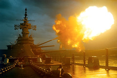 Vietnam War 1968 - View of USS New Jersey Firing Guns (manhhai) Tags: asianhistoricalevent battle historicevent nobody northamericanhistoricalevent unitedstateshistoricalevent vietnamwar19591975 vietnamesehistoricalevent war