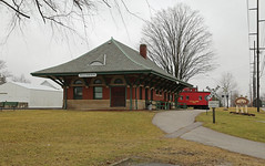 Lake Shore and Michigan Southern Depot — Wauseon, Ohio (Pythaglio) Tags: wauseon ohio fultoncounty building structure historic lsms depot railroad train brick onestory brackets roundarched windows stone hiproof michigansouthern romanesque trees nrhp nationalregister 93000151 ful24710