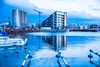 Reflection (Maria Eklind) Tags: ön building malmö crane reflection spegling sky sweden water skånelän sverige se stilllife pink himmel